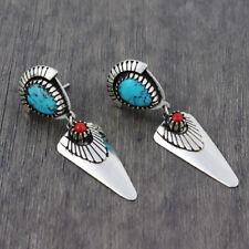 Vintage 925 Silver Turquoise Gemstone Ear Stud Hook Dangle Wedding Fine Jewelry