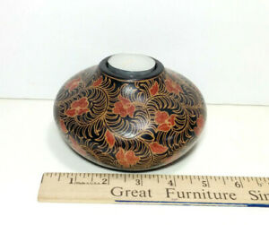 """Hard Wood Batik Candle Holder, 5"""" Width, Decorative Hand Crafted - Made in Bali"""