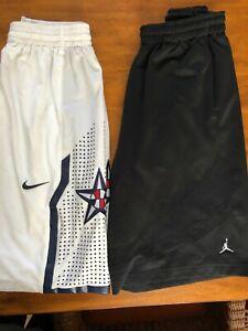 Lot of 2 Air Jordan Nike Mens Basketball Shorts Size Large Black White Team USA