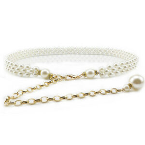 Women Lady Fashion Beads Gold Chain Skinny Belt Adjustable Dress Jeans Waistband