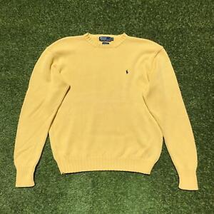 Vintage RALPH LAUREN POLO Mens Crew Neck Jumper XL   Yellow Sweater Knit