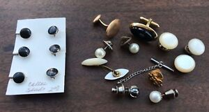 Men's Jewelry Cuff Links Shirt Studs Mother Of Pearl Gold Plated 17 Pieces