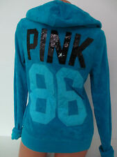 Victoria's Secret *PINK 86* TERRY BLUE SEQUIN HOODIE  NWT SMALL