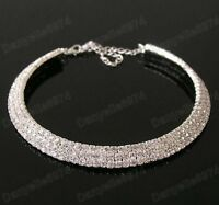 3 ROW CRYSTAL rhinestone  CHOKER NECKLACE silver plated SPARKLY DIAMANTE bridal