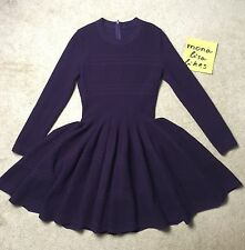 New ALAIA Aubergine Maroon Textured Scalloped Long Sleeve Full Skirt Dress 44