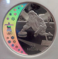 2007 CANADA Vancouver Winter Olympics CURLING $25 Silver Coin NGC Proof70 i73901