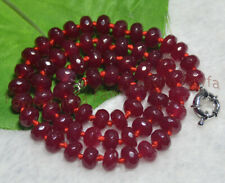 5X8mm Faceted Dark Red Garnet Gemstone Rondelle Beads Necklaces 20-36 Inches AAA