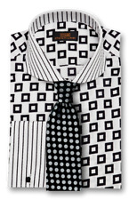 Dress Shirt by Steven Land Classic Fit French Cuff- Black/White -DW1736-BK