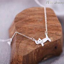 925 Sterling Silver Kitten Cat and Fish pendant Necklace girls' Small women's