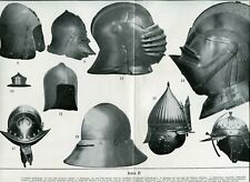 Lot of 2 prints MEDIEVAL WEAPONS SWORDS HELMETS Antique Lithograph Print 1900s