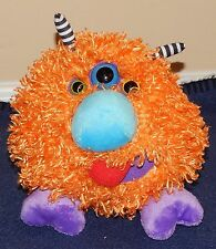 "6"" Ganz Boogity Boos Three Eyed Fluffy Orange Monster Plush Doll"