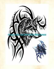 "US Seller- tattoo stickers wolf black totem 8.25"" large arm tattoo temporary"