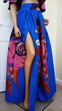 'Blue Demona' African Print Front Split Full Length/Maxi Skirt 100% Wax Cotton
