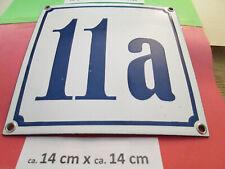 Hausnummer Emaille Nr. 11a blaue Zahl auf weißem Hintergrund 14 cm x 14 cm