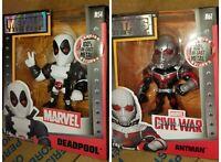 "4"" Antman (M61) & Deadpool (M54) White - Jada Metals Die cast Lot Marvel - NEW"