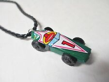 RACE DRIVER CAR Toy Upcycled Vintage Miniature Tin Litho Pendant Charm Necklace