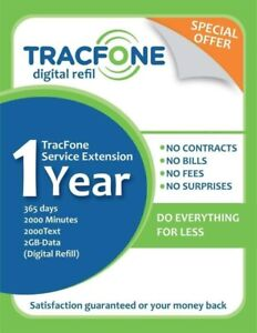 TracFone Service Extensión 1year/365days/2000minutes/2000text/2GB-Data (Digital)