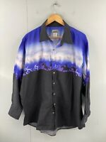 Express Rider Men's Vintage Long Sleeve Graphic Western Shirt Size XL Black Blue