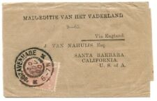 """Netherlands 1900 Wrapper to USA w/Queen 5c Solo, """"Via England"""""""