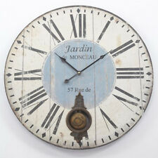 Large Vintage Shabby Distressed Wood Jardin Pendulum Wall Clock - BNIB