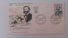 FRANCE PREMIER JOUR FDC YVERT 1188 HENRI DUNANT 20F+ 8F PARIS 1958
