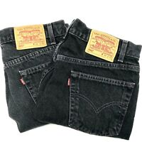 Levi Strauss Mens Black Denim Short 550 Jeans Sz 34 Relaxed Fit Lot of 2 Cotton