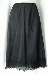 Harvey Woods 1940s 50s Vintage  LACY CRYSTAL PLEATED BLACK NYLON HALF SLIP - M