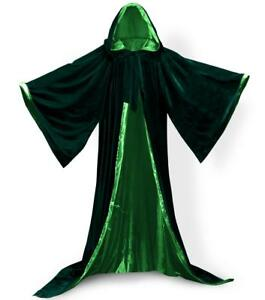 Velvet Hooded Cloak Gothic Vampire Wicca Robe Medieval Larp Cape Unisex Adult XL