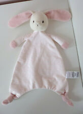 Marks And Spencer M&S Pink Striped Bunny Rabbit Baby Comforter Blanket Soother