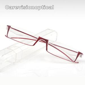 Fashion Slim Reading Glasses Tube Case Reader Red +1.00 +1.50 +2.00 +2.50 +3.00