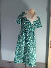 JIM TALLETT sIze M Silk dress Blue Green White St Thomas V.I. Vintage