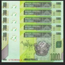 Lot 5 PCS, Congo 1000 Francs, 2013, P-NEW 101, UNC