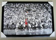 """Michael Jordan FRAMED Poster """"LAST SHOT"""" NBA CHICAGO BULLS Black timber & glass"""