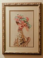 Completed Finished Cross Stitch Victorian Elegance Lady Embroidery Framed Pearls