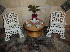 "Ooak Set-2 Chairs+Table+Accessories For 8"" Tiny Betsy Mccall-Skipper-Bears-Etc."