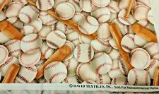 Baseball and Bat sports scattered print FQ little league 22X18 cotton fabric