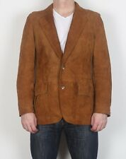 "Suede Leather fitted Jacket coat Medium 38"" 40"" Brown 70's  (G1I)"