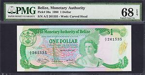 Belize QEII One Dollar 1980 Pick-38a Superb GEM UNC PMG 68 EPQ FINEST KNOWN