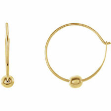 Youth Hoop Earrings with Bead In 14K Yellow Gold