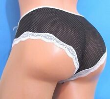 Black White polka dot lacy sheer sissy booty boy shorts bikini panties S