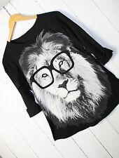 Langarmshirt Shirt  Löwe Print  S M L  Löwen-Design Schwarz Vintage Neu