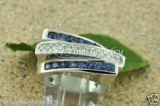 1.25 ct 14k Solid White Gold Ladie's Blue Sapphire Diamond Ring made in USA 3row
