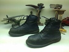 DR MARTENS INDUSTRIAL STEEL TOE DISTRESSED BLACK LEATHER LACE UP WORK BOOTS 13 M