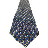 Paolo Gucci Horsebit Classic Necktie Tie Equestrian 100% Italian Silk Blue