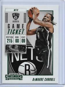 2018-19 Panini Contenders Game Ticket Green DeMarre Carroll #92 Brooklyn Nets