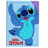 Happy Jump Stitch Ohana Disney Cute Kiss Blue Smile MDF Jigsaw Puzzle 60 Pieces