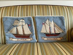 Pair Of Vintage Needlepoint Pillow Covers -  Clipper And Schooner Nautical - EUC