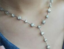 36Ct White Round Cut Moissanite Solitaire Chain Necklaces 925 Sterling Silver