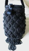 Antique Art Deco Crochet Jet Black Fringe Mirror Reticule Fringe Bead Purse