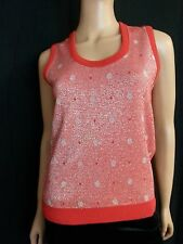 Vtg 70s Women Jantzen Knit Sweater Vest Top Red Metallic Silver Dot Disco S / M